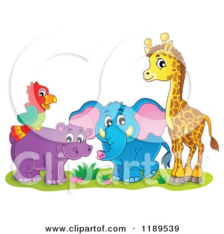 Cartoon of a Cute African Hippo Giraffe Elephant and Parrot - Royalty Free Vector Clipart by visekart