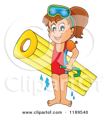 Cartoon of a Happy Girl with an Inflatable Mattress and Snorkel Gear - Royalty Free Vector Clipart by visekart