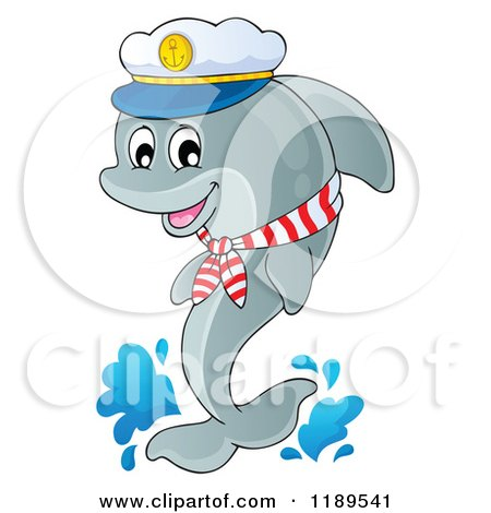 Cartoon of a Happy Captain Dolphin Jumping out of Water - Royalty Free Vector Clipart by visekart