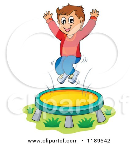 cartoon of a happy boy jumping on a trampoline royalty free vector rh clipartof com jumping clipart animated jumping clipart free