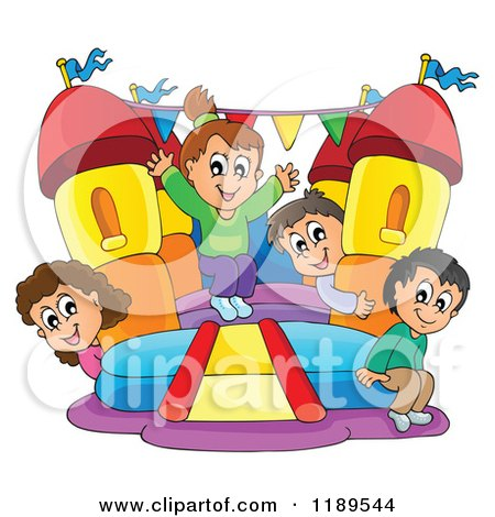 Cartoon of Happy Children Playing on a Bouncy House Castle - Royalty Free Vector Clipart by visekart