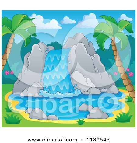 Cartoon of a Rocky Waterfall in a Tropical Setting - Royalty Free Vector Clipart by visekart