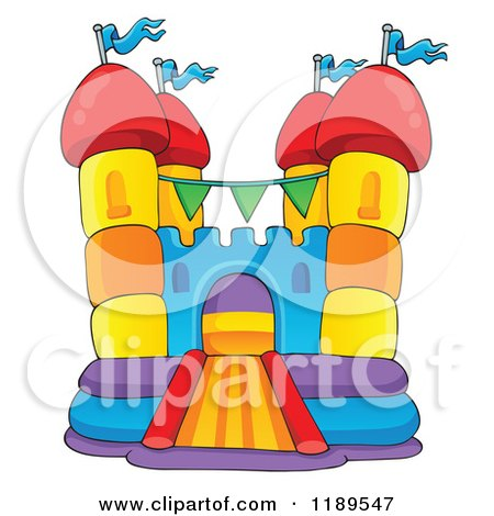 Cartoon of a Colorful Bouncy House Castle - Royalty Free Vector Clipart by visekart
