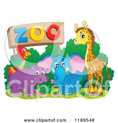 Cartoon of a Cute African Hippo Giraffe Elephant and Parrot by a Zoo Sign - Royalty Free Vector Clipart by visekart
