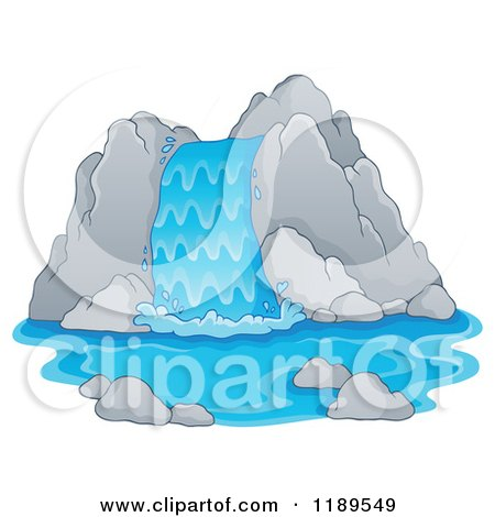 Cartoon of a Rocky Waterfall - Royalty Free Vector Clipart by visekart