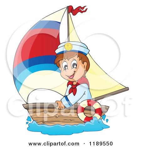 Cartoon of a Happy Sailor Boy in a Boat - Royalty Free Vector Clipart by visekart