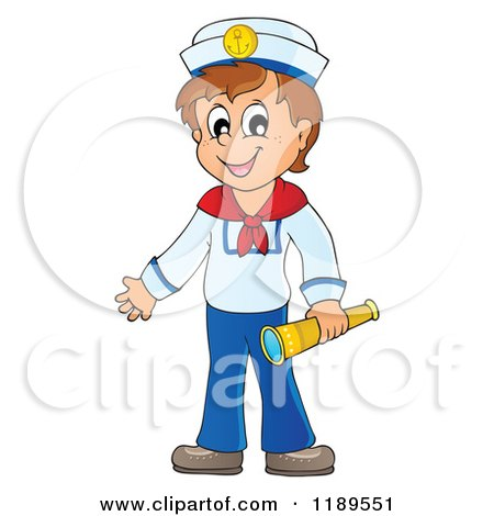 Cartoon of a Happy Sailor Boy Holding a Spyglass - Royalty Free Vector Clipart by visekart