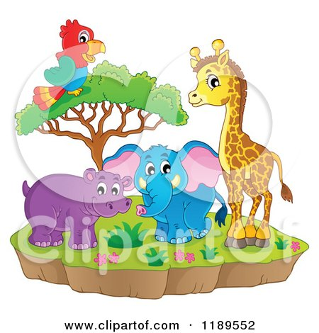 Cartoon of a Cute African Hippo Giraffe Elephant and Parrot by a Tree on an Island - Royalty Free Vector Clipart by visekart