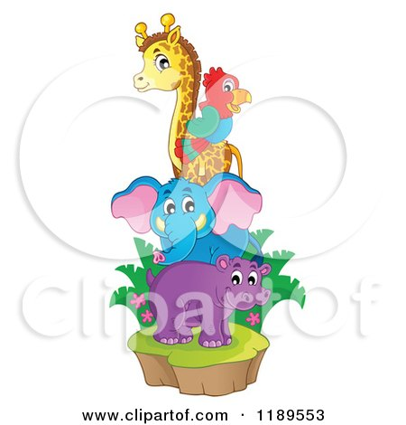 Cartoon of a Cute African Hippo Giraffe Elephant and Parrot on an Island - Royalty Free Vector Clipart by visekart