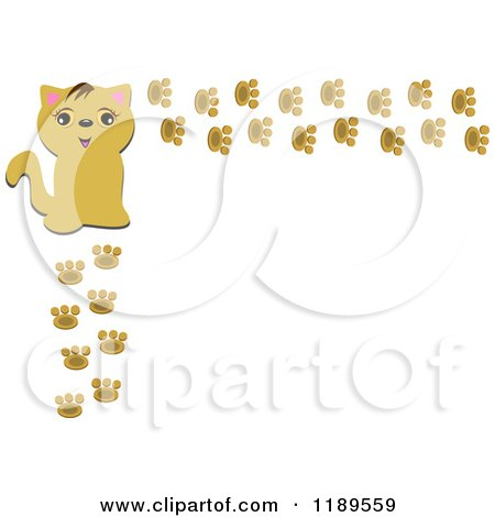 happy cat and paw print frame by bpearth