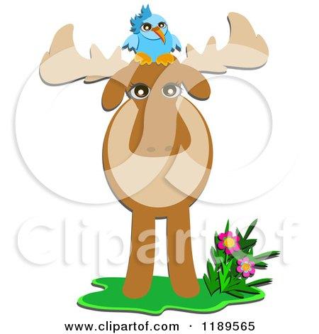 Cartoon of a Bluebird on a Moose - Royalty Free Vector Clipart by bpearth