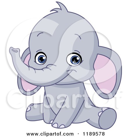 Cartoon of a Cute Baby Elephant Sitting and Smiling - Royalty Free Vector Clipart by yayayoyo