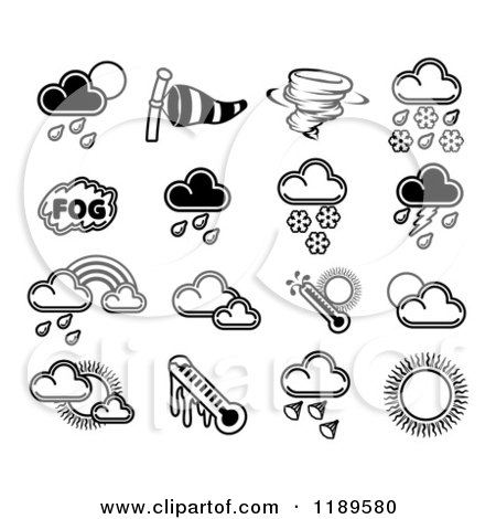 Clipart of Black and White Weather Forecast Icons - Royalty Free Vector Illustration by AtStockIllustration