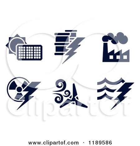 Clipart of Black and White Energy and Electricity Icons - Royalty Free Vector Illustration by AtStockIllustration