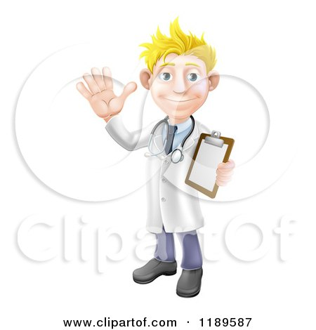 Cartoon of a Friendly Blond Male Doctor Waving and Holding a Medical Chart - Royalty Free Vector Clipart by AtStockIllustration