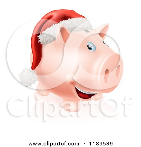 Cartoon of a Happy Piggy Bank with a Christmas Santa Hat - Royalty Free Vector Clipart by AtStockIllustration