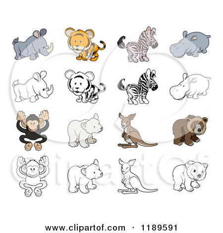 Cartoon of Cute Wild Animals in Color and Black and White - Royalty Free Vector Clipart by AtStockIllustration