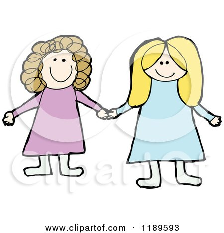 Cartoon of Two Girls Holding Hands - Royalty Free Vector Illustration by lineartestpilot