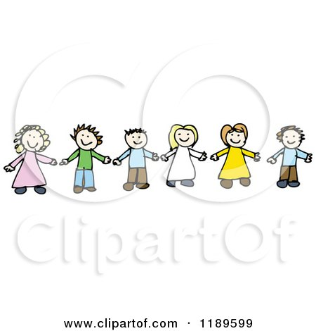 Cartoon of a Children Holding Hands - Royalty Free Vector Illustration by lineartestpilot