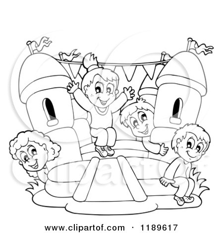 Cartoon of Outlined Happy Children Playing on a Bouncy House Castle - Royalty Free Vector Clipart by visekart