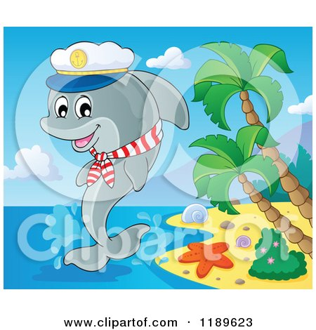 Cartoon of a Happy Captain Dolphin Jumping out of Water by ...