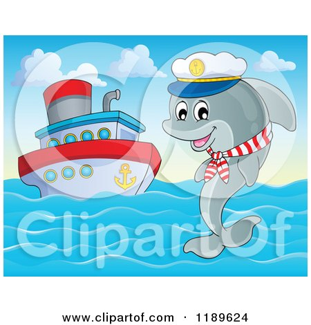 Cartoon Of A Happy Captain Dolphin Jumping Out Of Water By A Cruise Ship Royalty Free Vector
