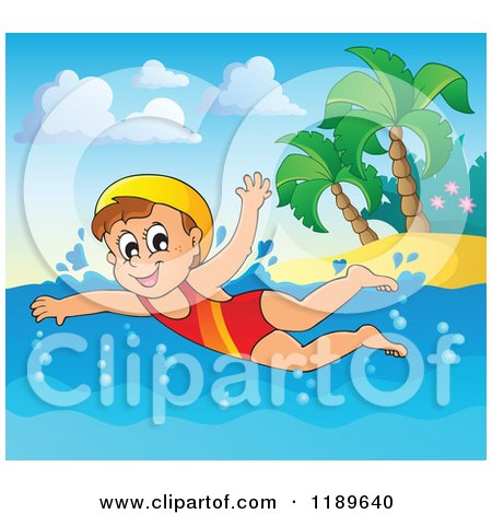 Cartoon of a Happy Girl Swimming near an Island Beach - Royalty Free Vector Clipart by visekart