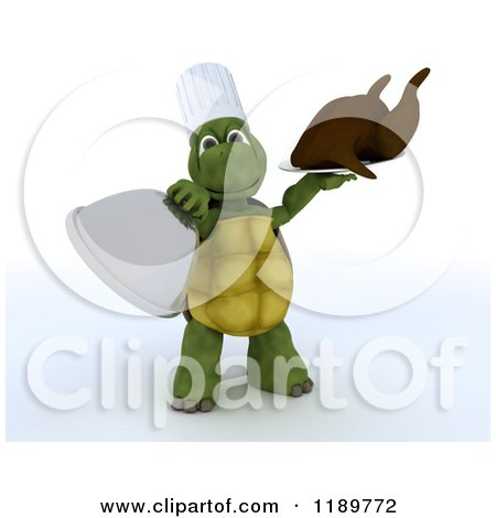 Clipart of a 3d Chef Tortoise Serving A Roasted Turkey - Royalty Free CGI Illustration by KJ Pargeter