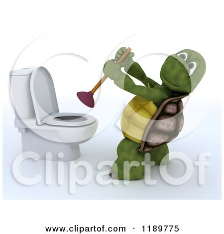 Clipart of a 3d Tortoise Plunging a Toilet - Royalty Free CGI Illustration by KJ Pargeter
