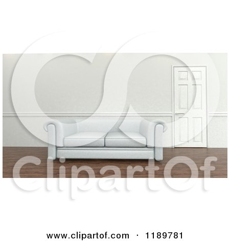 Clipart of a 3d White Sofa by a Closed Door - Royalty Free CGI Illustration by KJ Pargeter