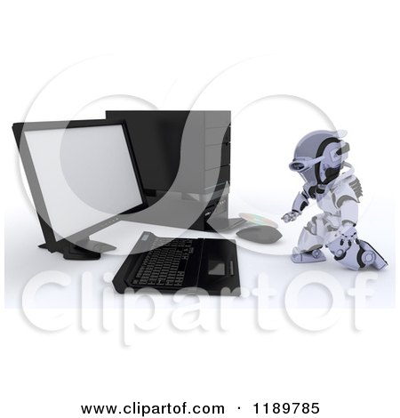 Clipart of a 3d Robot Inserting a Software Cd into a Desktop Computer Tower 2 - Royalty Free CGI Illustration by KJ Pargeter