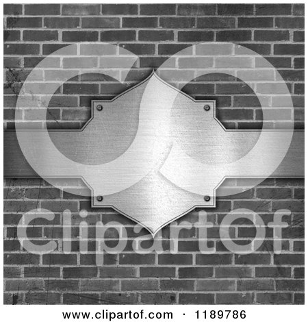 Clipart of a 3d Grayscale Brick Wall and Brushed Metal Plaque - Royalty Free CGI Illustration by KJ Pargeter