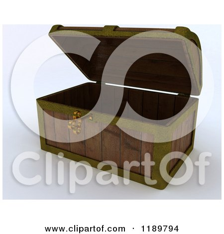 Clipart of a 3d Skeleton Key in an Open Wooden Chest - Royalty Free CGI Illustration by KJ Pargeter
