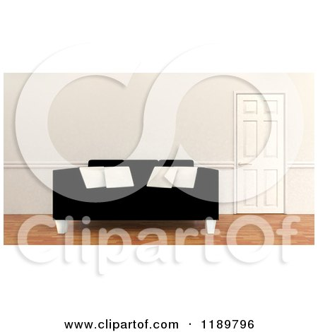 Clipart Of A 3d Black Sofa With White Pillows By A Closed Door Royalty Free Cgi
