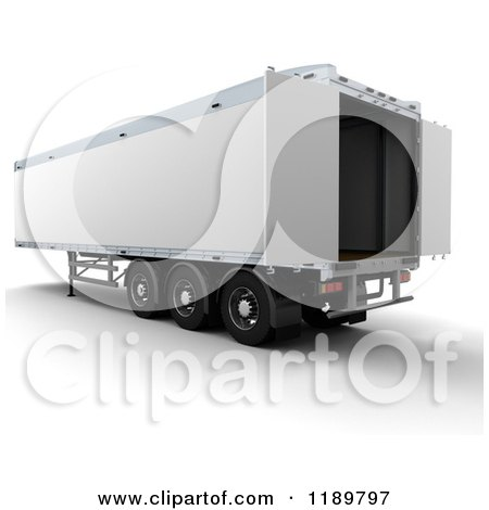 Clipart of a 3d Open HGV Freight Trailer - Royalty Free CGI Illustration by KJ Pargeter