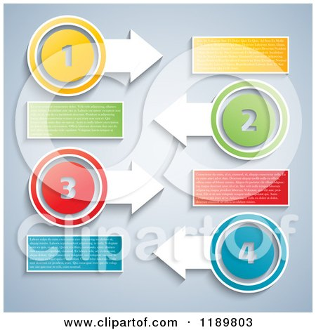 Clipart of an Infographics Dial with Numbered Tabs and Sample Text ...