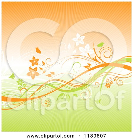 Clipart of a Green and Orange Floral Background with Vines and Rays - Royalty Free Vector Illustration by KJ Pargeter