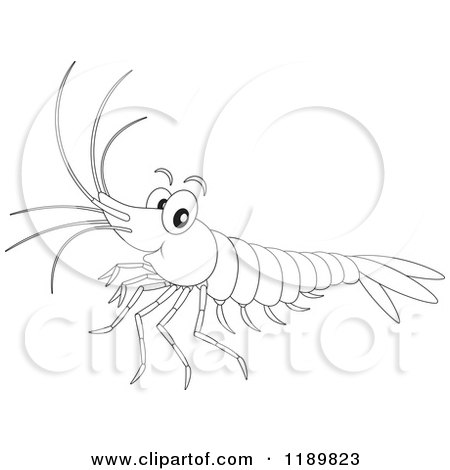 Cartoon of a Cute Happy Outlined Shrimp - Royalty Free Vector Clipart by Alex Bannykh