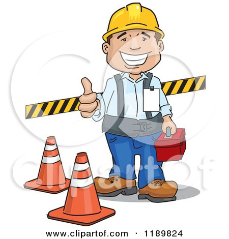 Cartoon of a Happy Construction Worker Holding a Thumb up and Standing with Safety Gear - Royalty Free Vector Clipart by David Rey