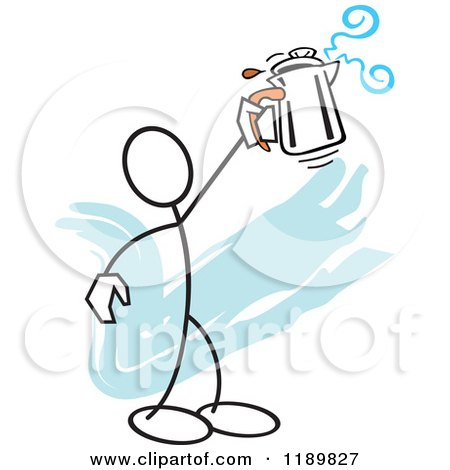 Cartoon of a Stickler Man Holding up a Percolator, over a Blue Accent - Royalty Free Vector Clipart by Johnny Sajem