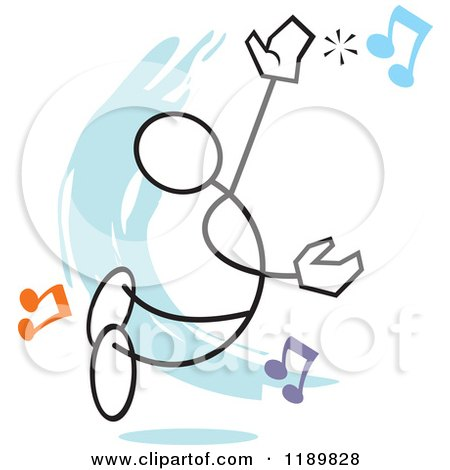 Cartoon of a Stickler Man Hitting a High Note, over a Blue Accent - Royalty Free Vector Clipart by Johnny Sajem