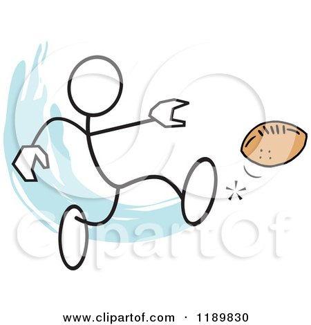 Cartoon of a Stickler Man Kicking a Football, over a Blue Accent - Royalty Free Vector Clipart by Johnny Sajem
