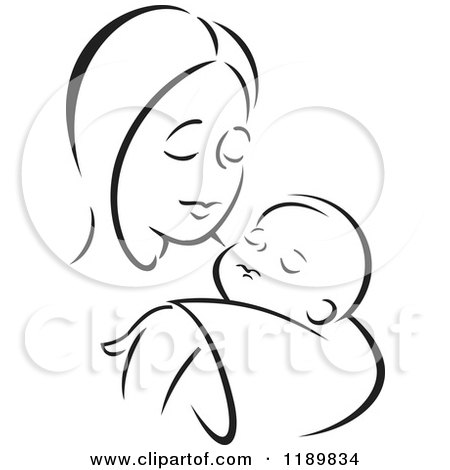 Cartoon of a Black and White Sketch of a Loving Mother Holding a Baby - Royalty Free Vector Clipart by Johnny Sajem
