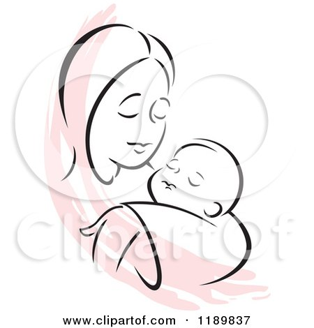 Cartoon of a Black and White Sketch of a Loving Mother ...
