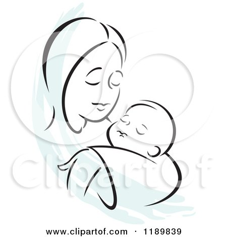 Cartoon Of A Black And White Sketch Of A Loving Mother Holding A Baby With A Blue Accent Royalty Free Vector Clipart By Johnny Sajem 1189839