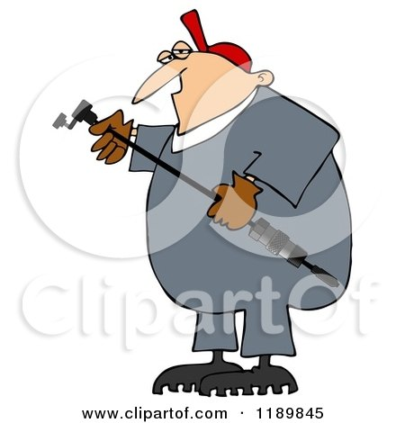 Cartoon of a Worker Man Holding a Gas Valve Changer - Royalty Free Clipart by djart