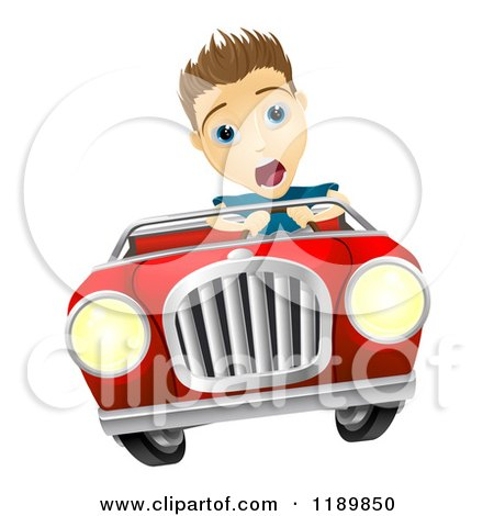Cartoon of a Teenager Losing Control of a Convertible Car - Royalty Free Vector Clipart by AtStockIllustration