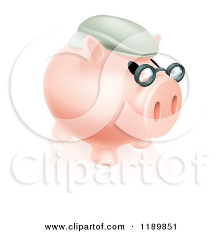 Clipart of a Pension Piggy Bank with Glasses and a Hat 2 - Royalty Free Vector Illustration by AtStockIllustration