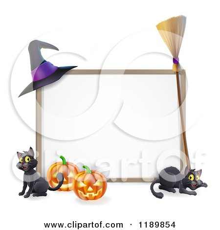 Cartoon of a Halloween Frame with a Witch Hat Broom Pumpkins and Cats - Royalty Free Vector Clipart by AtStockIllustration