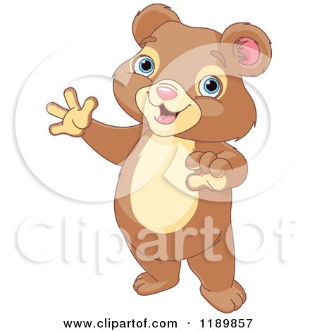 Cartoon of a Cute Happy Bear Cub Standing and Waving - Royalty Free Vector Clipart by Pushkin